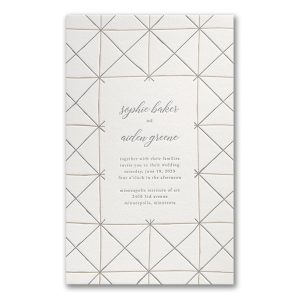 Hand-drawn Lines in Pearl White Wedding Invitation