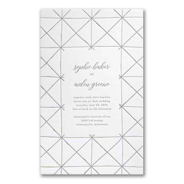 Hand-drawn Lines in White Wedding Invitation