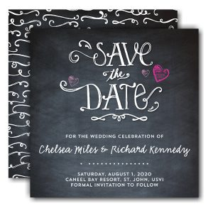 Hearts Chalkboard Save the Date Card Icon