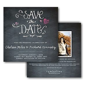 Hearts Chalkboard Text Save the Date Card Icon
