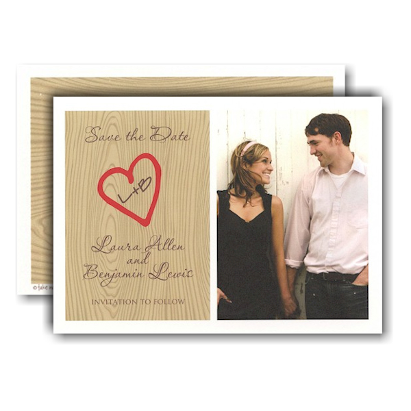 Initials on Tree Photo Save the Date Card