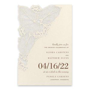 Intricate Greenery on Ecru Wedding Invitation