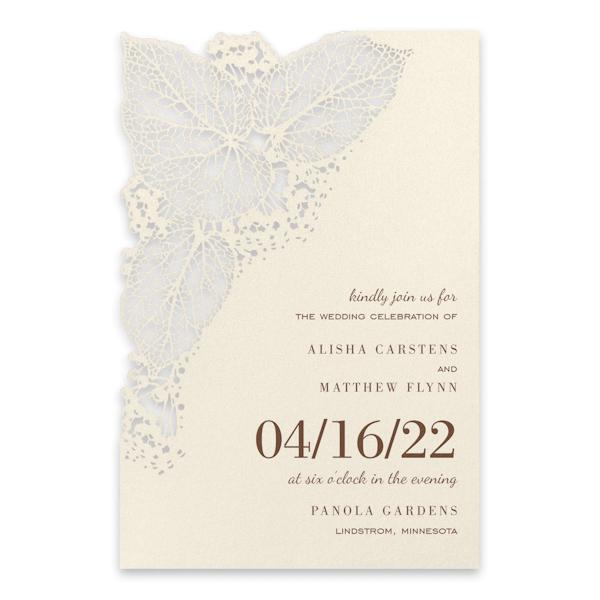 Intricate Greenery on Ecru Wedding Invitation Icon