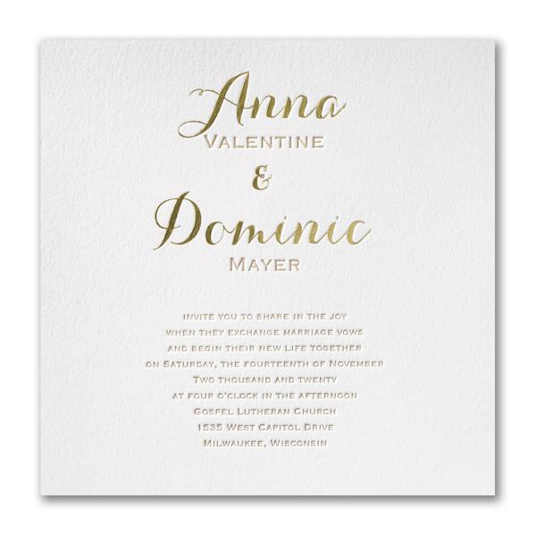Joyous Spectacle Letterpress Wedding Invitation
