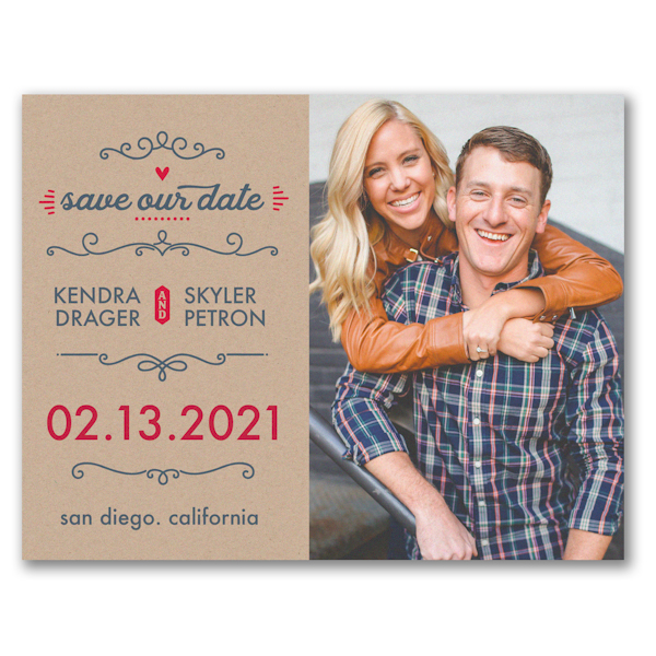 Kraft Date Photo Save the Date Card