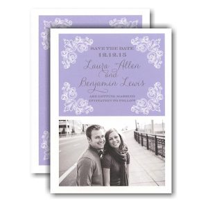 Lilac Delicate Corners Photo Save the Date Card Icon