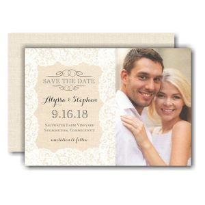 Linen Lace Photo Save the Date Card Icon