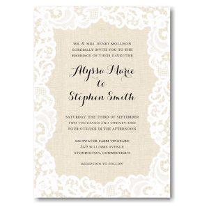 Linen Lace Wedding Invitation Icon