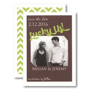 Lucky Us Coffee and Lime Photo Save the Date Card Icon