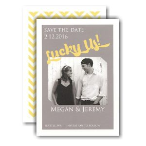 Lucky Us Grey Yellow Photo Save the Date Card Icon