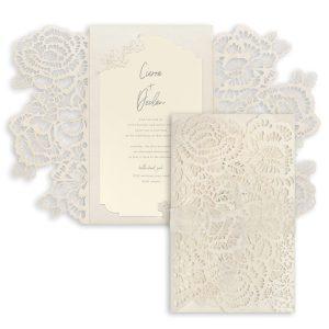 Luxurious Blooms in Ecru Wedding Invitation