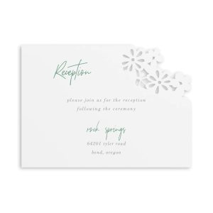 Luxurious Blooms in White Reception Card