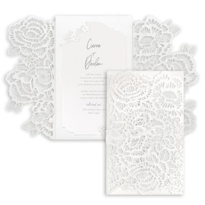 Luxurious Blooms in White Wedding Invitation