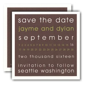 Modern Block Coffee and Lime Save the Date Card Icon
