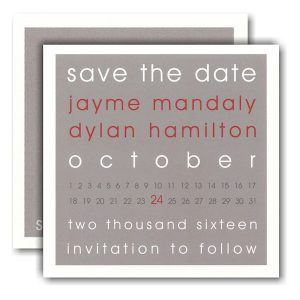 Modern Block Grey and Red Save the Date Card Icon