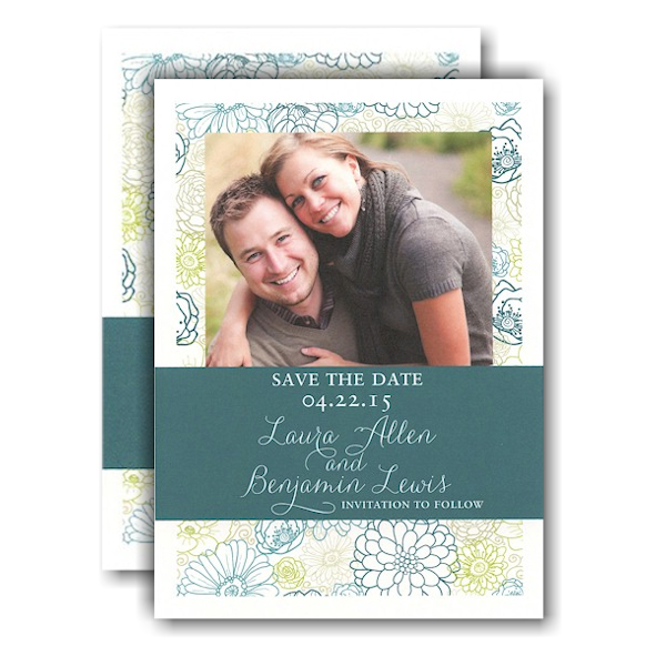 Modern Floral Layout Band Photo Save the Date Card