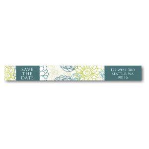 Modern Floral Layout Band Photo Skinny Address Label