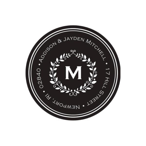 Monogram Collage Just Married Return Address Sticker