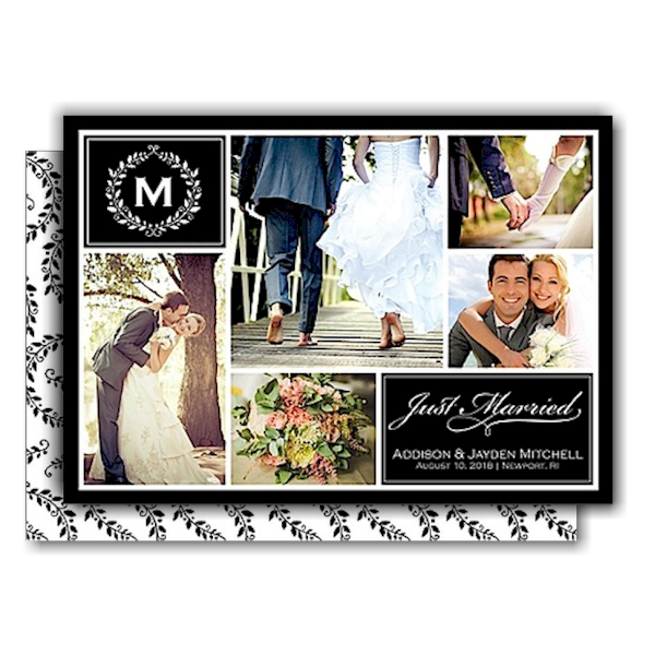 Monogram Collage Just Married Wedding Announcement