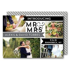 Mr & Mrs Banners Gray Just Married Wedding Announcement Icon