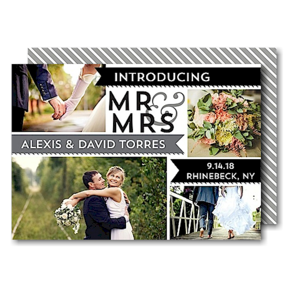 Mr & Mrs Banners Gray Just Married Wedding Announcement