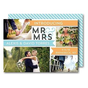 Mr & Mrs Banners Peach Just Married Wedding Announcement