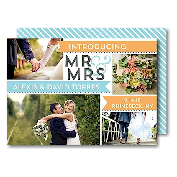 Mr & Mrs Banners Peach Just Married Wedding Announcement Icon