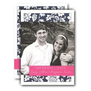 Navy Pattern & Pink Band Photo Save the Date Card Icon