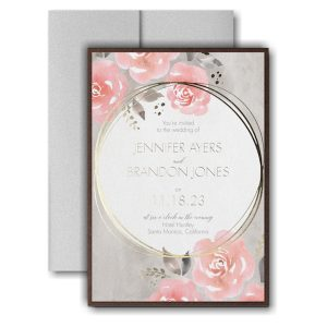 Pastel Roses Layered Pocket Wedding Invitation Icon