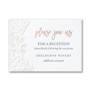 Pearl Blooms in Fluorescent White Reception Card