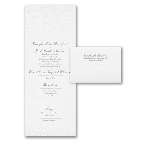 Pearl Confetti Seal 'n Send Wedding Invitation