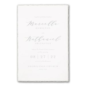 Pearl Feather Deckle in White Wedding Invitation Icon