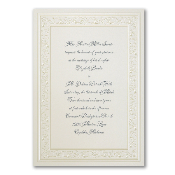 Pearl Hearts Wedding Invitation