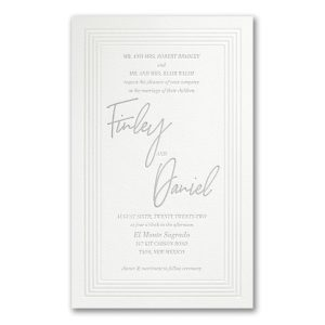 Pearlized Borders in Fluorescent White Wedding Invitation