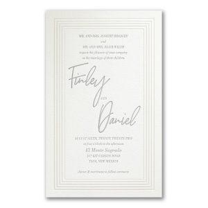 Pearlized Borders in Pearl White Wedding Invitation