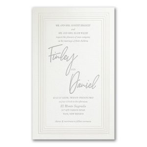 Pearlized Borders in Pearl White Wedding Invitation Icon
