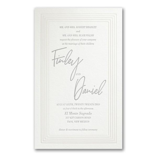 Pearlized Borders in Pearl White Wedding Invitation Icon