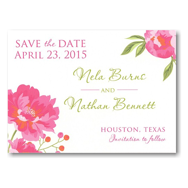 Peony Save the Date Postcard