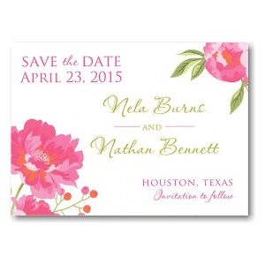 Peony Save the Date Postcard Icon