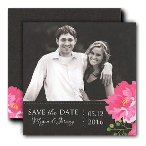 Peony on Band of Black Photo Save the Date Card Icon