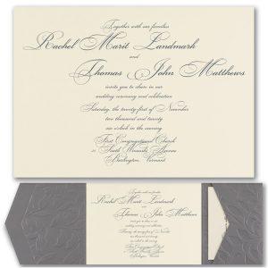 Pewter Embossed Vines Pocket Wedding Invitation Icon