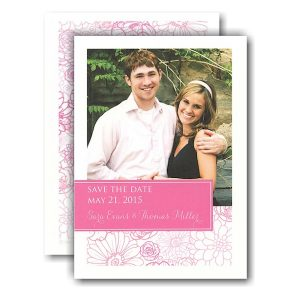Pink Floral with Tag Photo Save the Date Card Icon