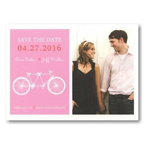 Pink Tandem Bike Save the Date Postcard Icon