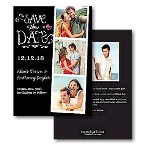 Portraits Black Text Save the Date Card Icon
