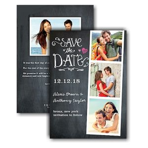 Portraits Chalkboard Text Save the Date Card Icon
