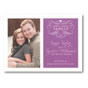 Purple Filigree Story Save the Date Postcard Icon
