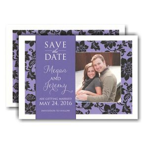 Purple and Black Classic Photo Save the Date Card