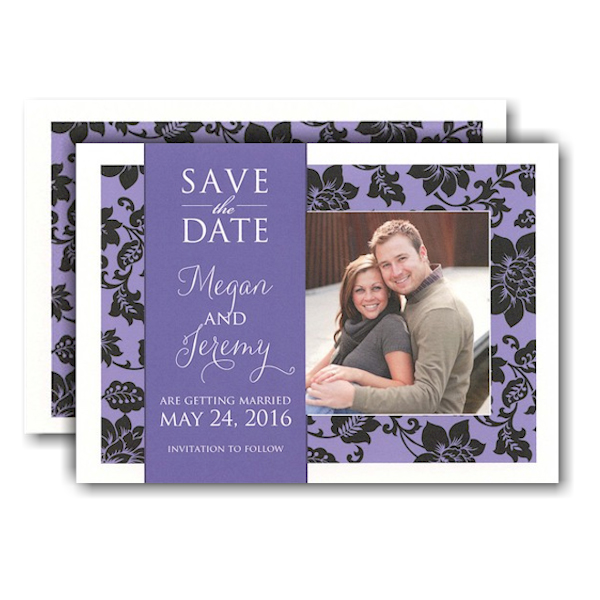 Purple and Black Classic Photo Save the Date Card Icon