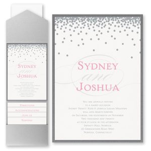 Raining Love Layered Pocket Wedding Invitation