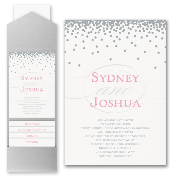 Raining Love Pocket Wedding Invitation